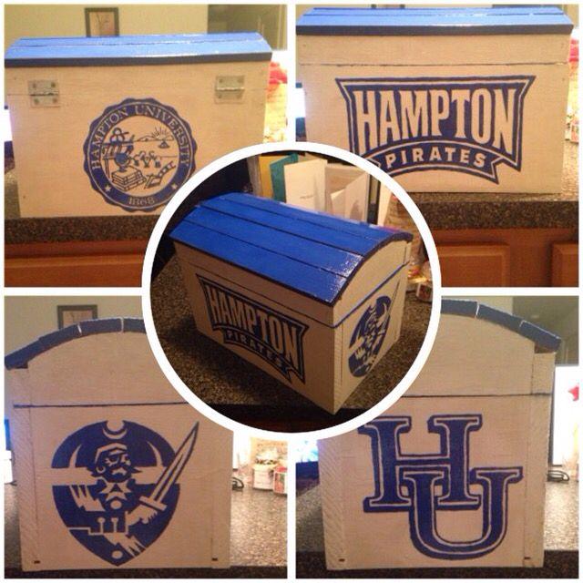 Custom Painted Blue And White Hampton University Chest #DIY #Custom  #Homemade #BlueandWhite Part 30