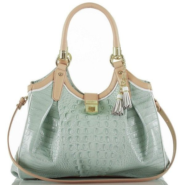 Brahmin Tri-Texture Collection Elisa Hobo Bag (1.360 BRL) ❤ liked on Polyvore featuring bags, handbags, shoulder bags, brahmin, hobo shoulder bags, brahmin purses, brahmin handbags and green handbags