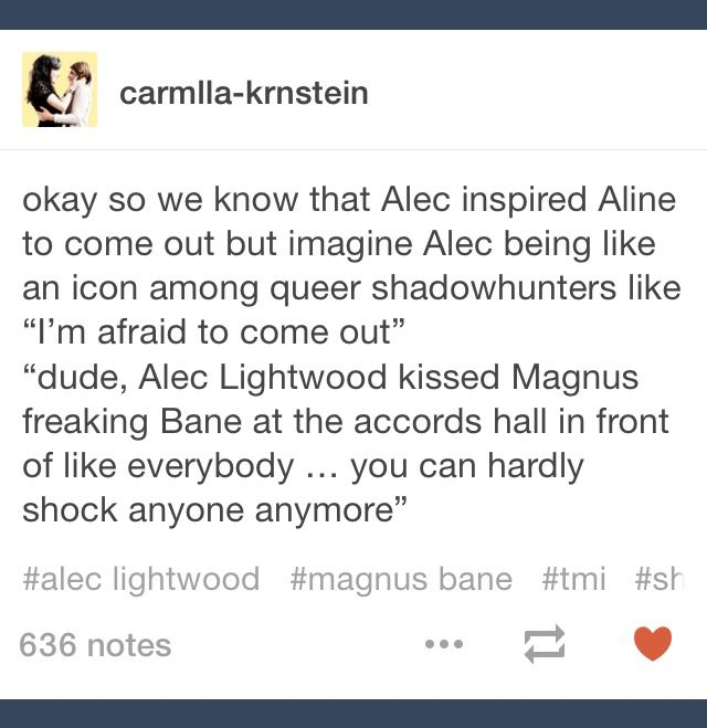 """Alec Lightwood kissed Magnus Bane in front of everyone at his own wedding to Lydia Branwell! You can't shock anyone anymore!"""