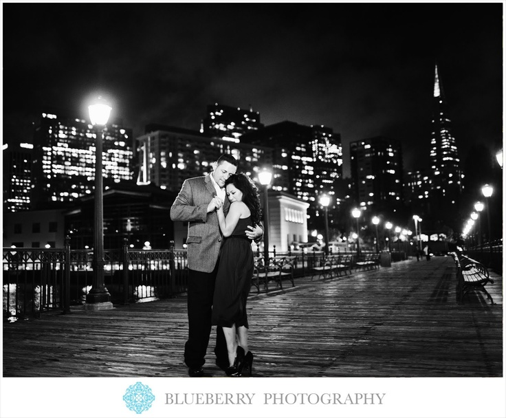 San Francisco night scene city light engagement session photography