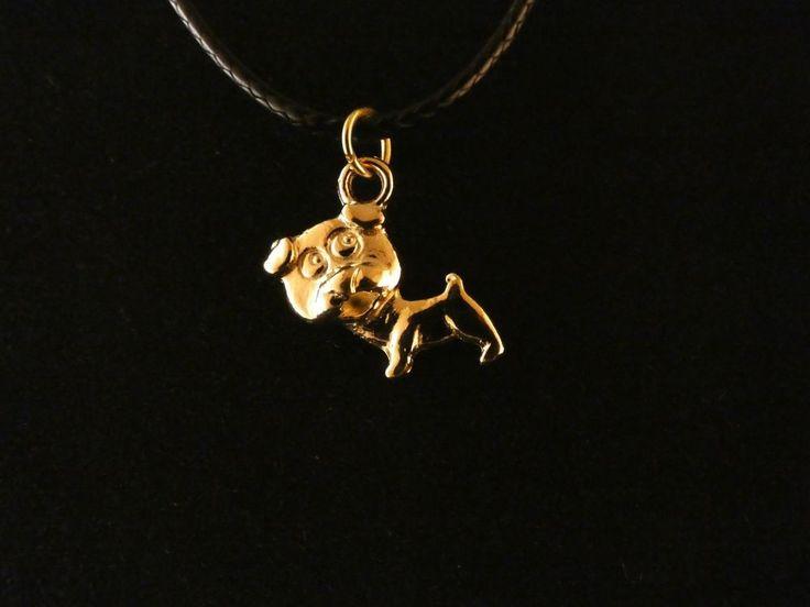 Hund Anhänger mit Kette 24 Karat Vergoldet Tier Dog Halskette Charm Gold