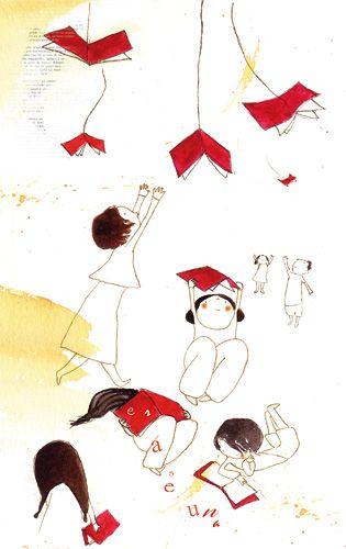 Porque las hojas de mi libro remueven el aire y me abanican palabras.  Porque no aguantaría un único final.  Para vivir cien años en cien páginas.  Leo...  porque no es suficiente con lo que he vivido.    Ilustración: Patricia Metola