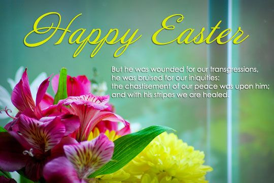 Here is an Easter Prayer and Bible Verses. http://www.missionariesofprayer.org/2015/04/easter-prayer-and-easter-bible-verses/