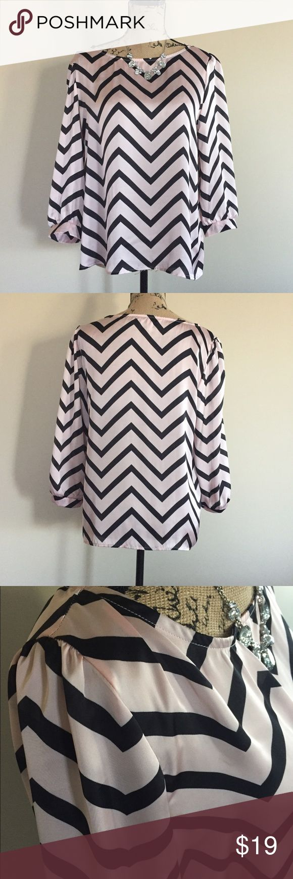 "🌸 Silky pink chevron top 🌸 Pretty pink chevron top by Speechless of Macy's. 3/4 sleeves with banded cuffs. 100% polyester, machine wash. Size L. EUC  Bust measures 20"", length 24"" Macy's Tops Blouses"