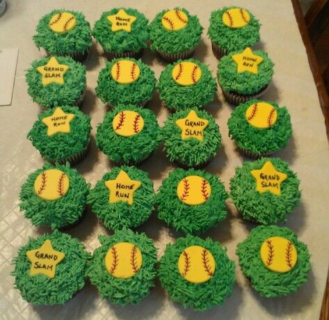Softball cupcakes I made for my daughters team to celebrate her birthday.