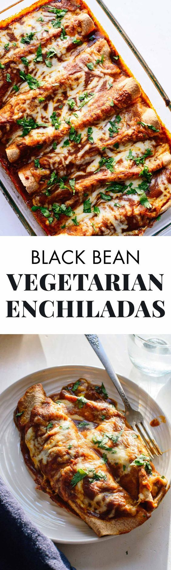 Delicious vegetable enchiladas recipe with black beans and homemade red sauce - cookieandkate.com