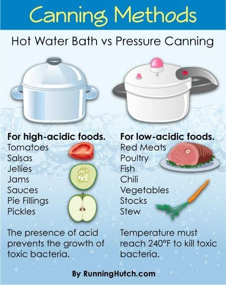 Canninng methods chart.  Hot water bath vs. Pressure Canning.