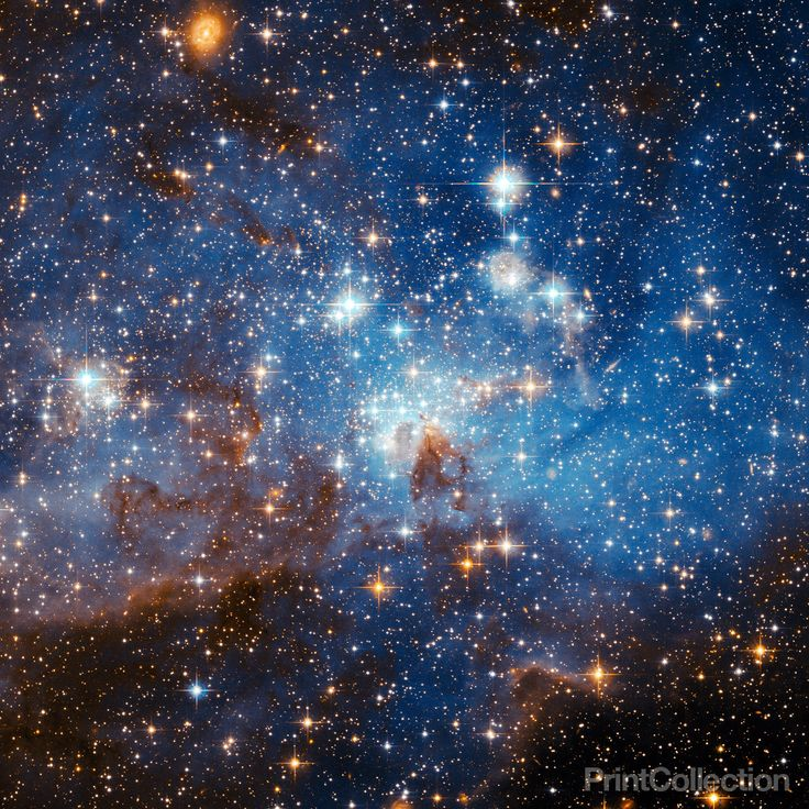 Swirls of gas and dust reside in this ethereal-looking region of star formation imaged by NASA's Hubble Space Telescope. This majestic view of LH 95, located in the Large Magellanic Cloud, reveals a r