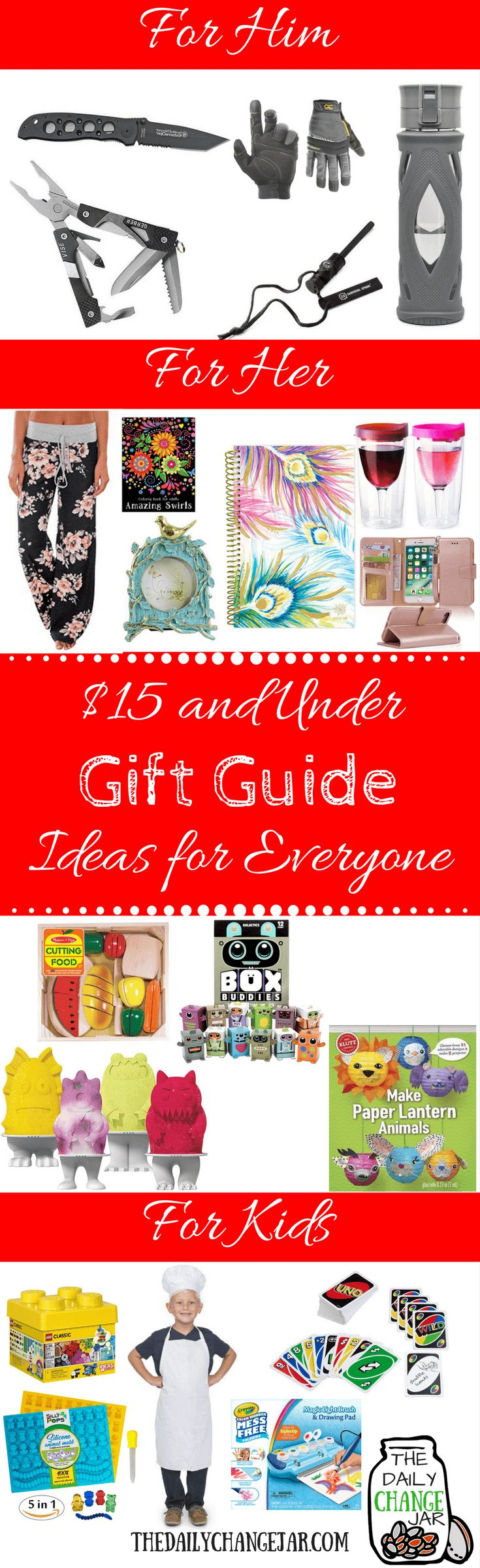 Do you need gift ideas for everyone in your family? Here is a list of 50 gift ideas for $15 or less for him, her, and the kids. Click the image to check out the list of 50 gift ideas for everyone on your list! gift guides, for him, 2016, holiday, favorite things, teenager, 2017, christmas, for her, kids, women, for girls, mom, email, under $25, design, dad, best firiend, sister, grandma, for teens, birthday, preppy, editorial, magazine, layout, mens, for parents, travel, college, boys…