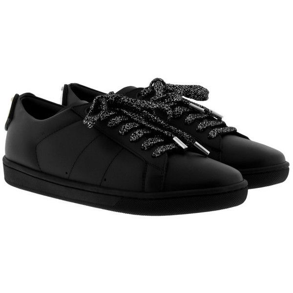 Saint Laurent Sneakers - Lips Sneakers Low Noir/Silver/Gold - in black... (€615) ❤ liked on Polyvore featuring shoes, black, gold flat shoes, silver flat shoes, dressy flat shoes, black flat shoes and silver shoes