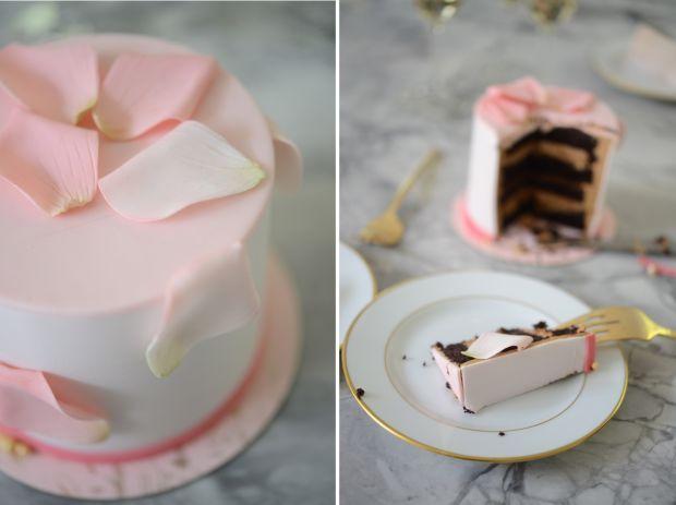 {The prettiest rose petal cake}
