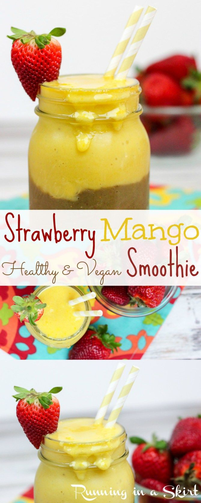 Healthy Strawberry and Mango Smoothie Recipe. Vegan smoothie with almond milk!  Hidden spinach in the strawberry layer.  Includes tips on how to layer a smoothie.  Running in a Skirt