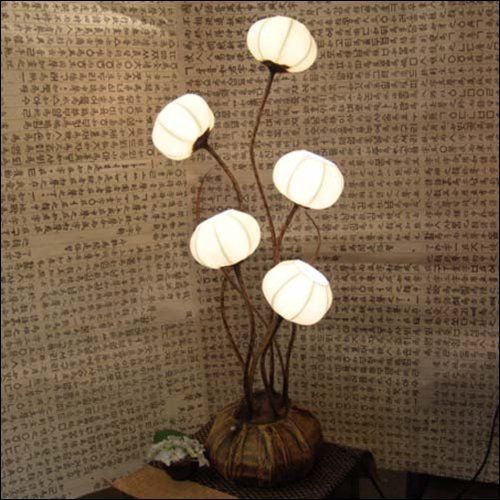 Rice Paper Table Lamp: Mulberry Rice Paper Ball Handmade Five Flower Bud Design Art Shade White  Round Globe Lantern Brown Asian Oriental Decorative Accent Home Decor  Bedroom Table ...,Lighting