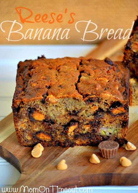 Reese's {Explosion} Banana Bread from MomOnTimeout.com | An explosion of Reese's turns this banana bread into the ultimate treat! #bread #breakfast #Reese's