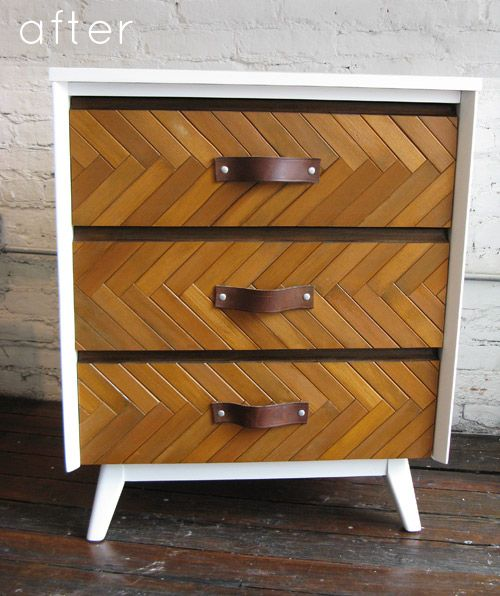 repurposed dresser using shutters, and an old belt on drawers. love.