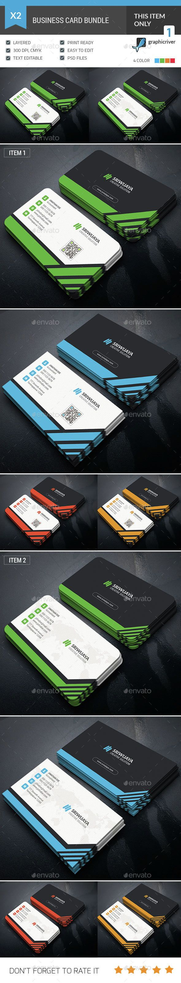 Business Card Bundle — Photoshop PSD #stylish #colorful • Available here → https://graphicriver.net/item/business-card-bundle/14958321?ref=pxcr