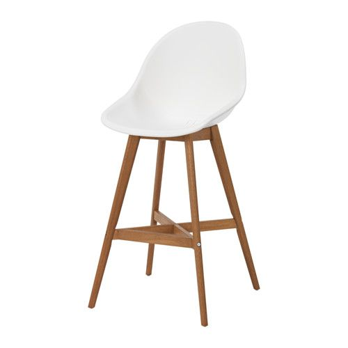 IKEA - FANBYN, Bar stool with backrest, You sit comfortably thanks to the shaped back and armrests.