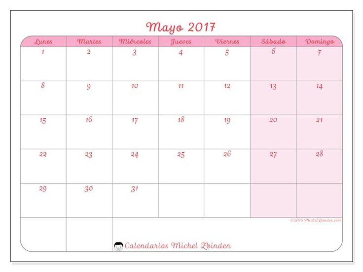 Calendario mayo 2017 para imprimir, gratis. Calendario mensual : Generosa (L). La semana comienza el lunes
