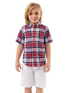 SALE!  E Land Kids - Plaid Shirt - Short Sleeve - Red/White/Blue - was $36.50 now $18.25 - sizes:  4 & 6