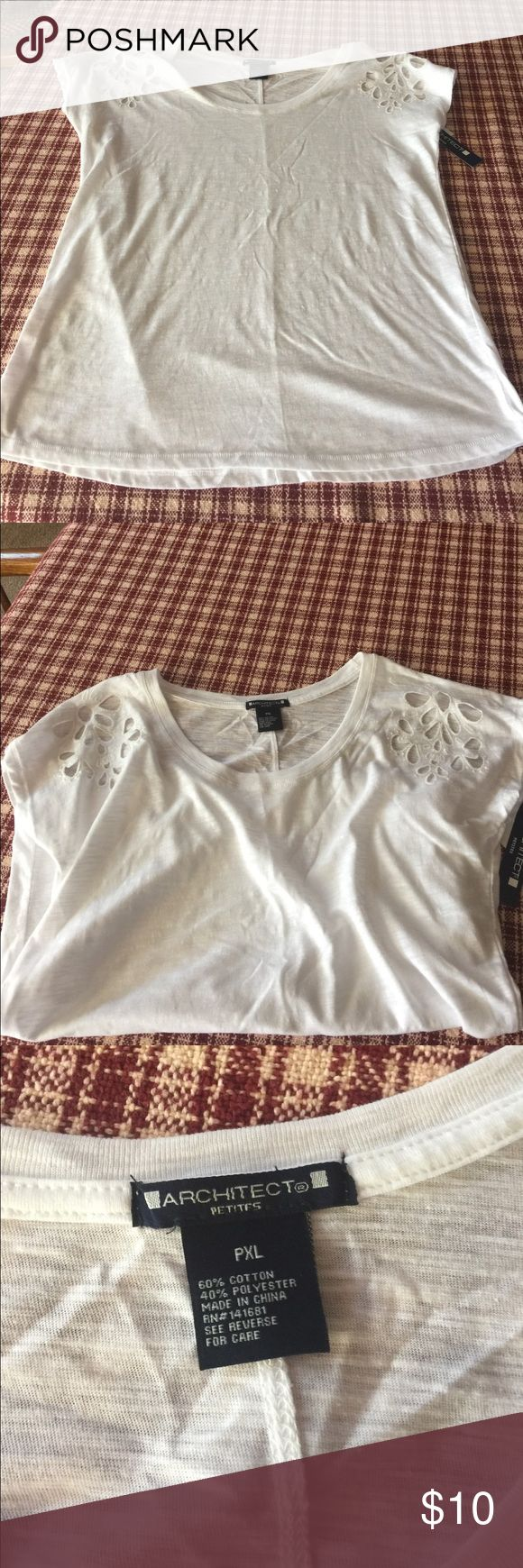 Cut out shoulder top sz PXL BNWT. Cute cut outs on shoulders. Would say this fits like a large. Architect Tops Tees - Short Sleeve