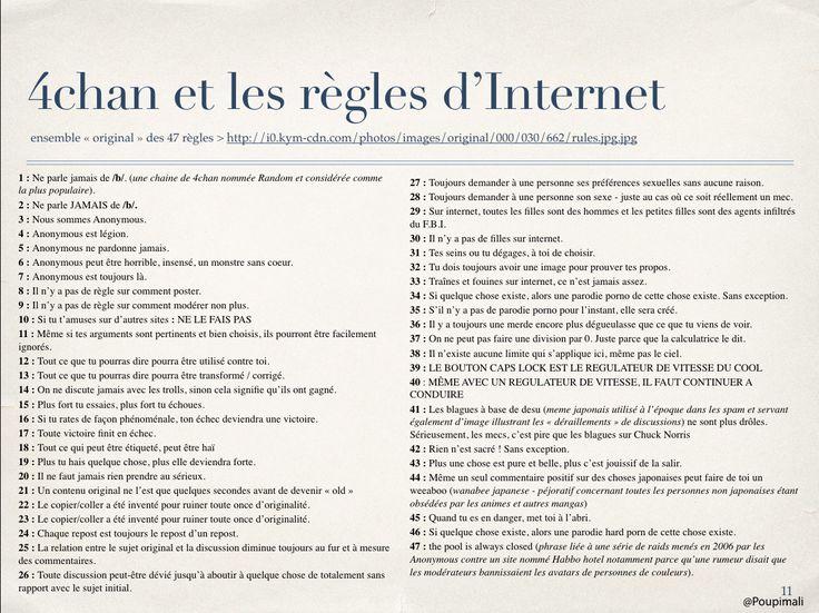 traduction française des règles d'Internet - rules of internet de 4chan