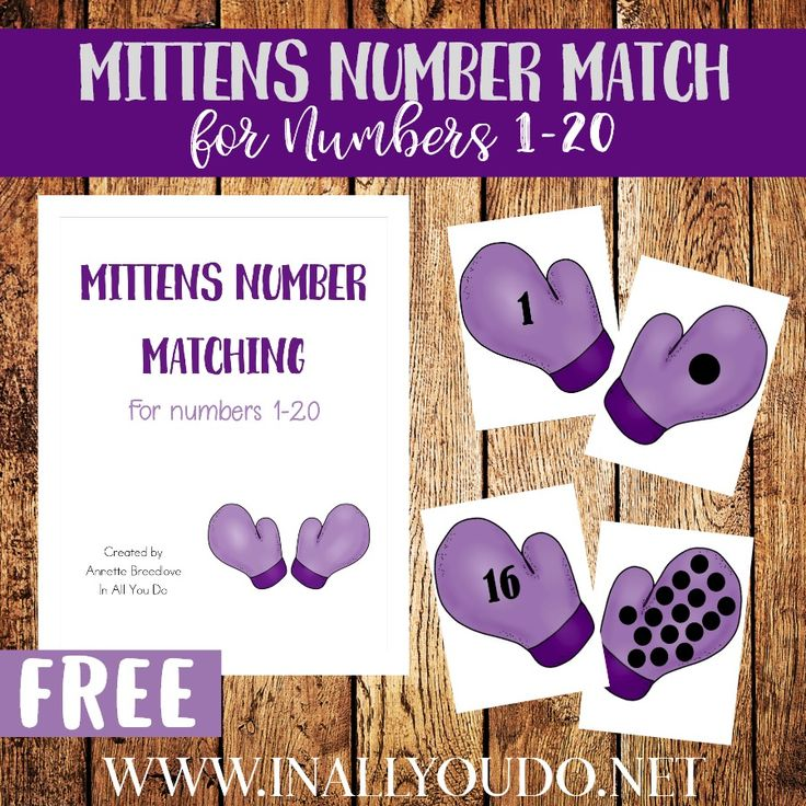 Winter is in full swing and that means cold days are here. Now is the perfect time to have toddlers work on their counting skills with these winter themed Mitten Number Match printables for numbers 1-20! :: www.inallyoudo.net