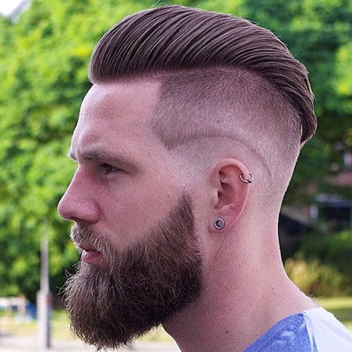 Beards and Fades - Undercut with Comb Over and Full Beard