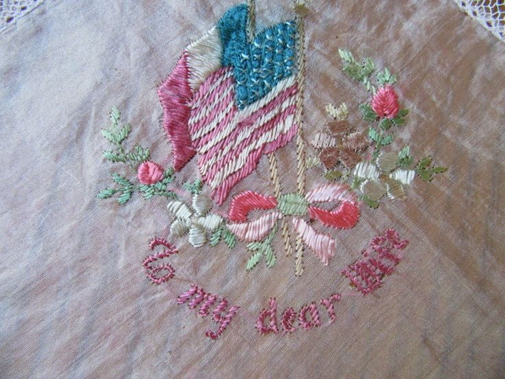 WW1 Military Hankie, To My Dear Wife, Made In France, Pink Silk, Embroidered French & American Flags, WWI Memorabilia, Military Memorabilia by BeautifulPurpose on Etsy