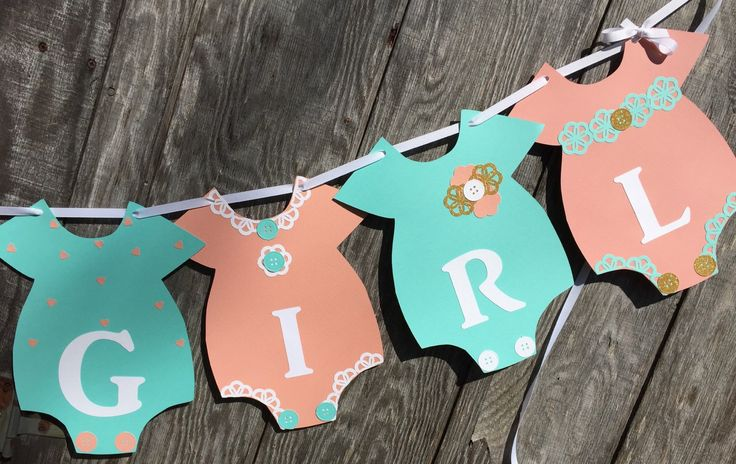 Mint, Gold and Coral Baby Shower Banner, It's a Girl Banner, Onesie Banner, Gender Reveal Banner, Coral Baby Shower Banner