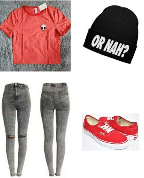 Alien crop top,ripped jeans,beany 'Or nah?',red vans #outfit