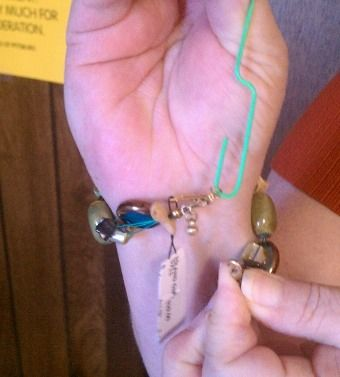 Use a paper clip to put on a bracelet yourself - perfect for a quick day to evening transformation!