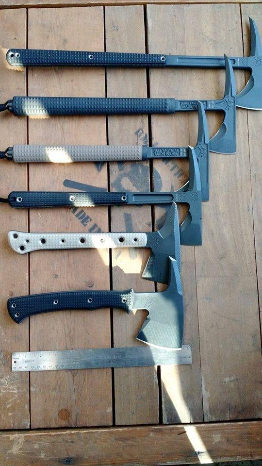 RMJ Tactical - From top to bottom: Eagle Talon, Shrike, S13, Kestrel, Jenny Wren, Active Shooter hawk