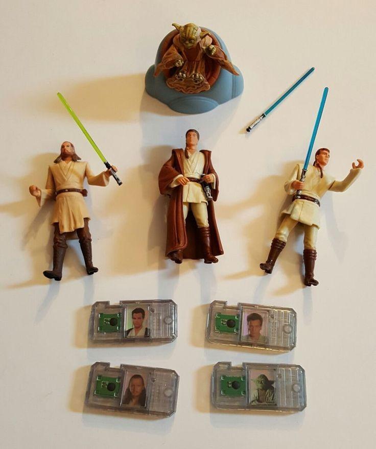 Star Wars Action Figures Obi Wan Kenobi Qui Gon Jinn Yoda Lightsabers #Hasbro