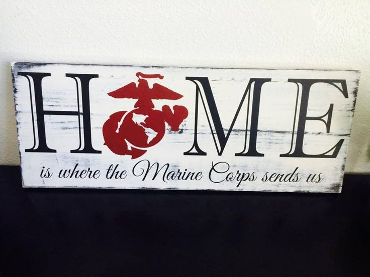 This distressed Marine Corps sign features an off white distressed background with black lettering and a red Eagle, Globe and Anchor. If you would prefer a different color option to match your home de