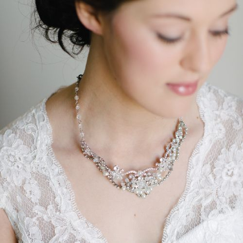 Crystal Cubic Zirconia Bridal Necklace Set by Pearl & Ivory ®  - Find more inspiring wedding necklaces and bridal jewelry from our collection www.pearlandivory.com/bridal-jewelry.html. Photography by Yolande Marx #PearlandIvory #Cubic Zirconia #Bridal #Necklace #WeddingJewelry