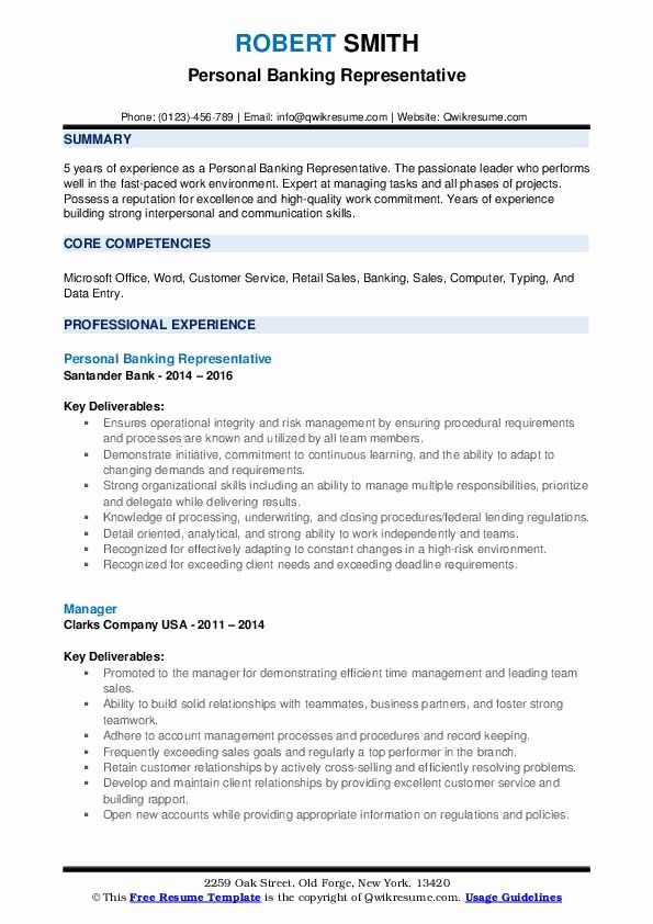 Bank Customer Service Representative Resume Inspirational Personal Banking Sam Job Sample Relationship Building Skills Statement Manager