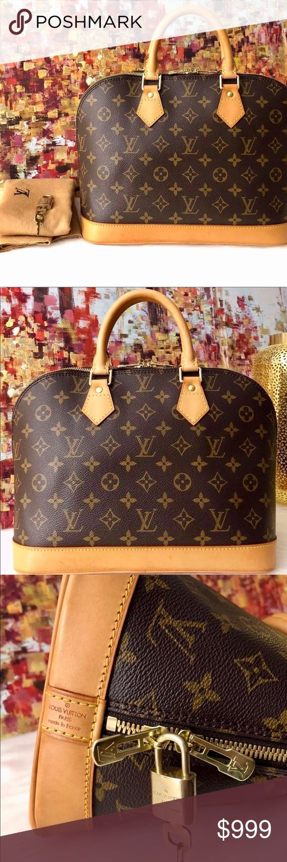 """Authentic LOUIS VUITTON  Alma PM Small Handbag ❤️NO TRADE❤️ Date Code:  BA1010 Made in France  Item Condition:  Monogram canvas is in EXCELLENT condition. Please see pictures for more details.  Item Description: Monogram canvas exterior Zip top closure Golden brass hardware Vachetta leather double rolled handles Vachetta leather trimmings Textile lining interior Slip pocket Dimensions: 12.0"""" L X 9.0""""H x 6.25""""W (approx.) Accessories: Dust bag, lock/2 keys #313 included  ❤️NO EXCHANGE OR…"""