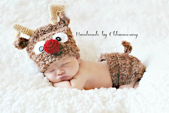 Crochet Baby Reindeer Hat and Diaper Cover by handmadebychhunneang, $44.95