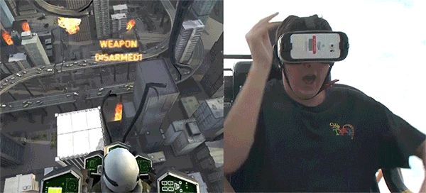 Riders equipped with a Gear VR headset cantransport themselves to a futuristic battle to save planet Earth from an alien invasion in virtual reality, all while flying high strapped intoa rollercoaster ride.