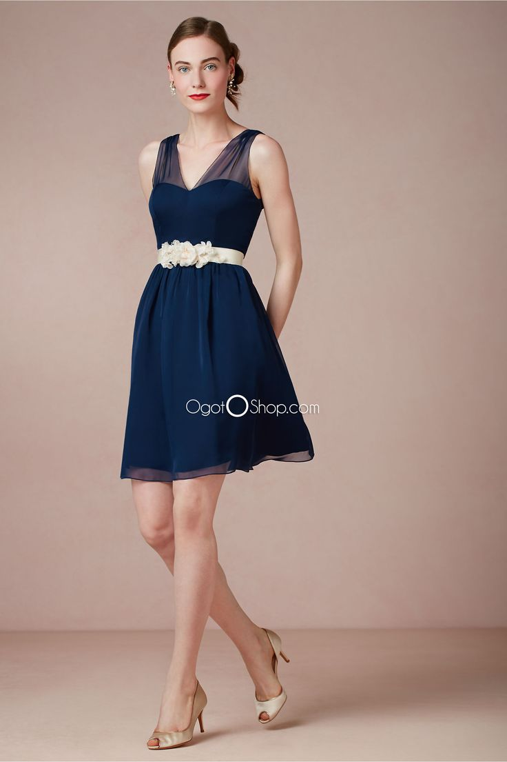 12 best bridesmaid dresses images on pinterest cute navy blue tulle straps bridesmaid dresses with detachable flower sash ombrellifo Gallery