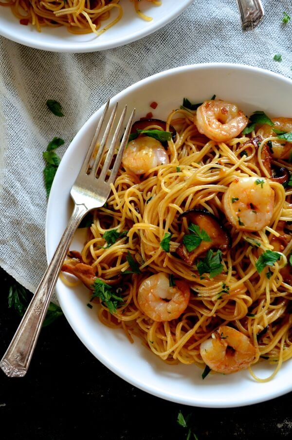 Soy Sauce Butter Pasta with Shrimp and Shiitakes by thewoksoflife #Pasta #Shrimp #Shitake #Soy_Sauce #Butter