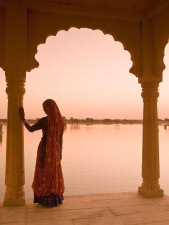 Woman Wearing Sari, Jaisalmer, Rajasthan, India Photographic Print at AllPosters.com