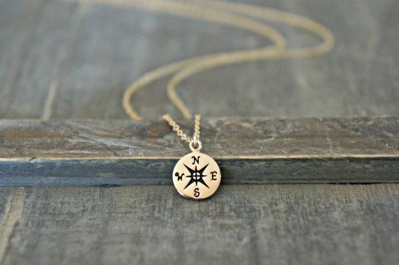 Gold Compass Necklace / Small Compass Pendant on a Gold Filled Chain ... Meaningful Jewelry : Guidance, Right Direction, Safe Jouneys