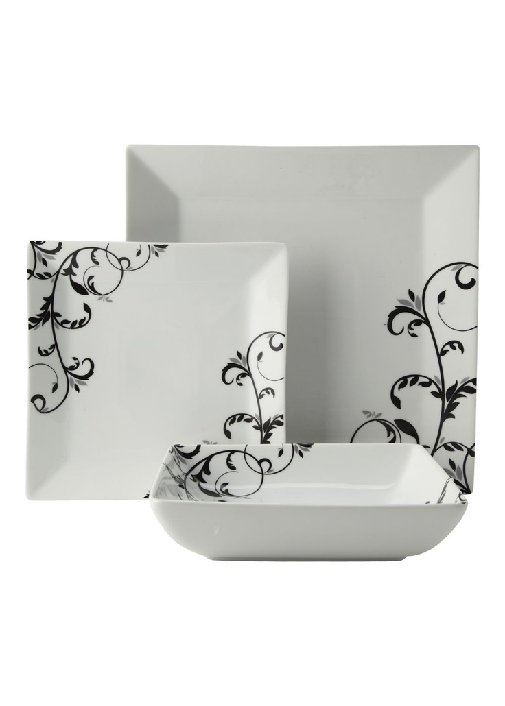 matalan swirl pattern square 12 piece box set in white and black this is my ideal dinner set i think square plates are so stylish