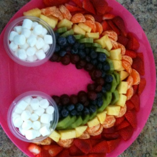 Rainbow Fruit Platter - maybe strawberry cream cheese spread in the bowls instead of marshmallows and mini bagels to go with it :)