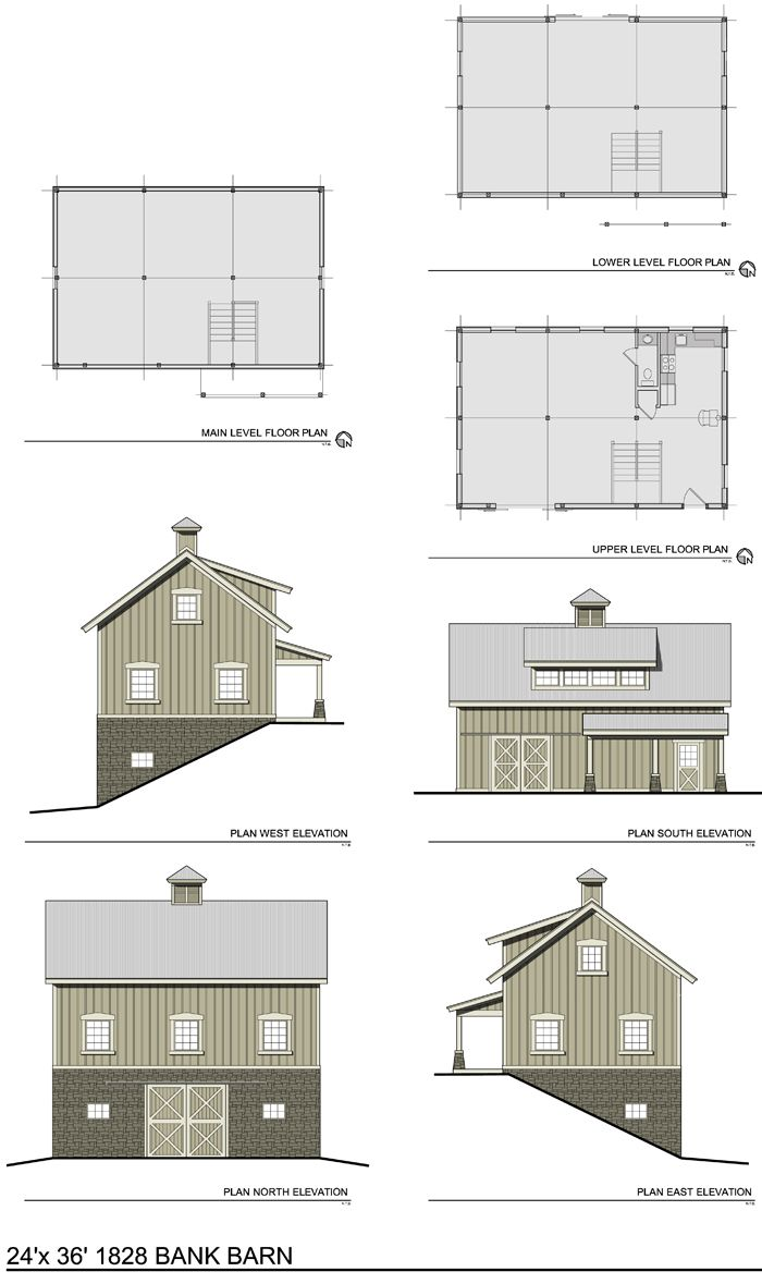 The 1828 bank barn barn plans for Gambrel barn plans with living quarters