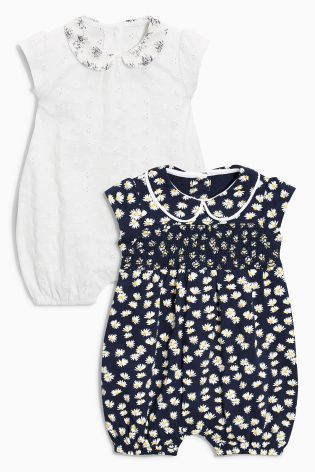 Ecru/Navy Collar Rompers Two Pack (0mths-2yrs)