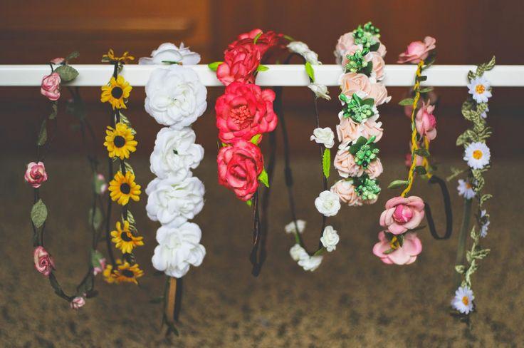 Flower Crowns: use Gretchen headbands to make real flower crown