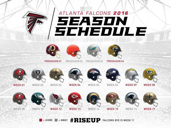 The Atlanta Falcons 2016 Schedule.