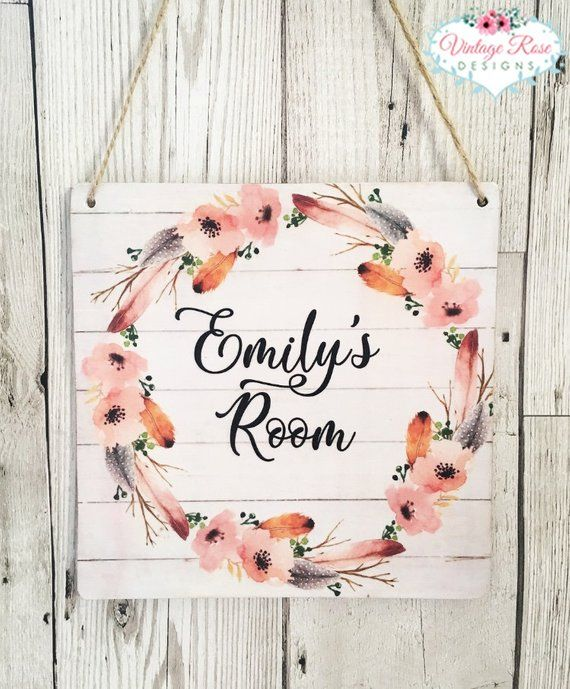 Personalised S Name Door Sign Hanging Plaque Feather